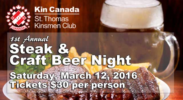 St. Thomas Kinsmen Steak & Craft Beer Night - March 12, 2016