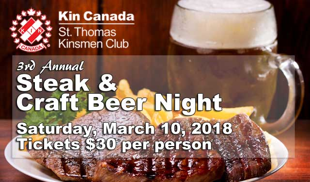 St. Thomas Kinsmen Steak & Craft Beer Night - March 10, 2018