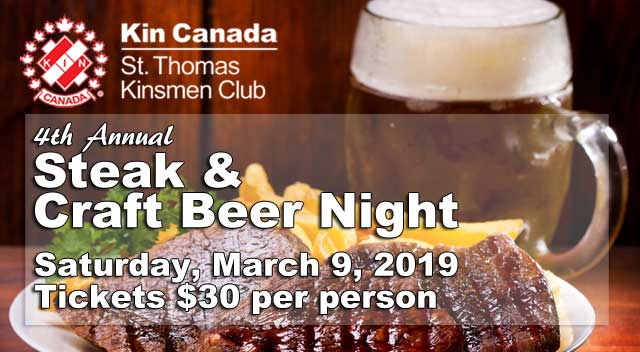 St. Thomas Kinsmen Steak & Craft Beer Night - March 9, 2019
