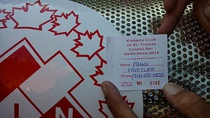 St. Thomas Kinsmen 2015 50/50 Winning Ticket