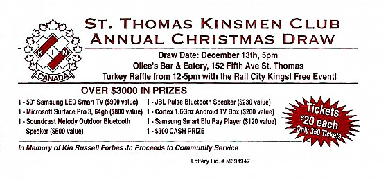 2014 Annual St. Thomas Kinsmen Christmas Draw