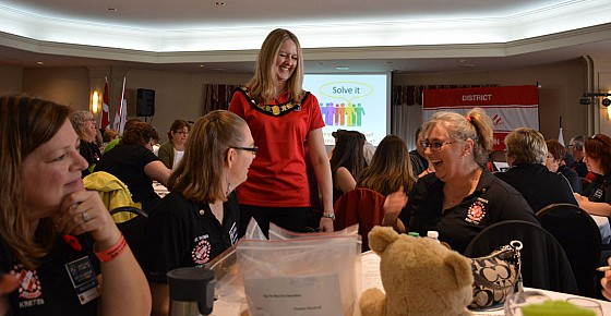 National President Kim Peters enjoys a laugh with St. Thomas Kinsmen & Kinettes at FLC, November 7, 2015