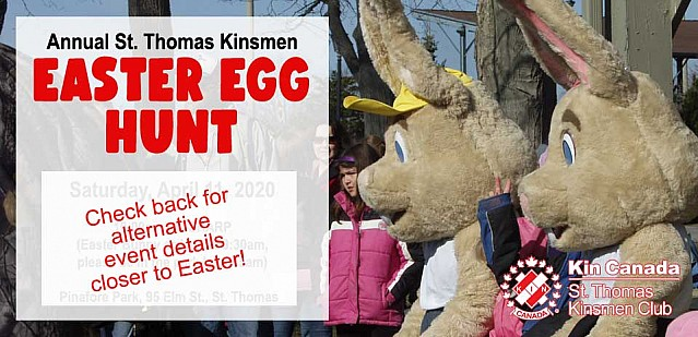 Annual St. Thomas Kinsmen Easter Egg Hunt - Saturday, April 11, 2020 at Pinafore Park, St. Thomas, ON