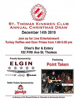 St. Thomas Kinsmen Electronics Draw and Turkey Raffle, December 14, 2019 featuring Point Taken