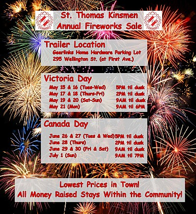 St. Thomas Kinsmen Fireworks Sale - Hours and Location
